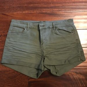 NWT! Super comfy and stretchy green jean shorts